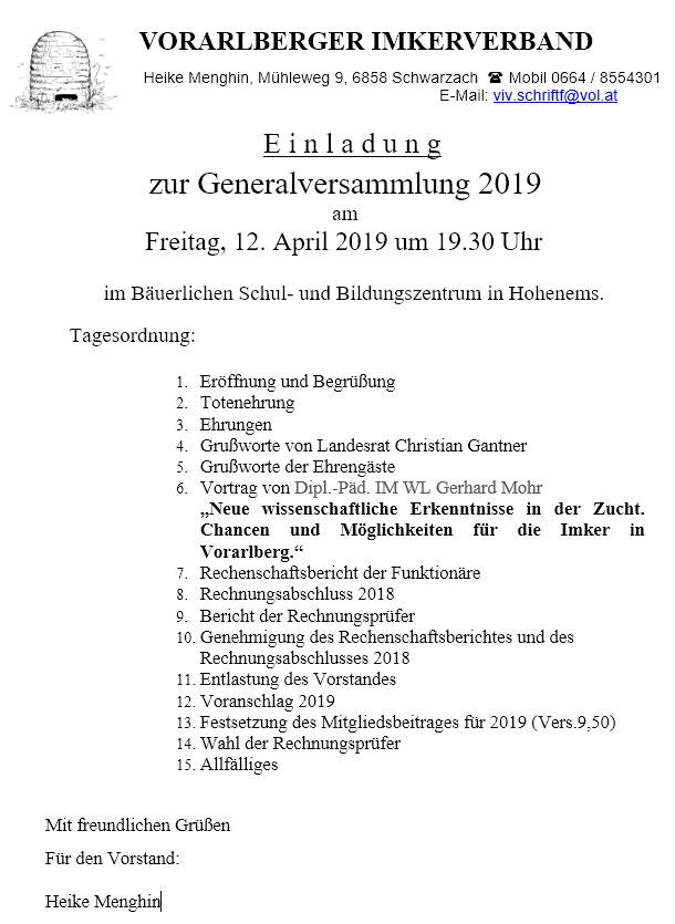 Einladung zur Genralversammlung 2019